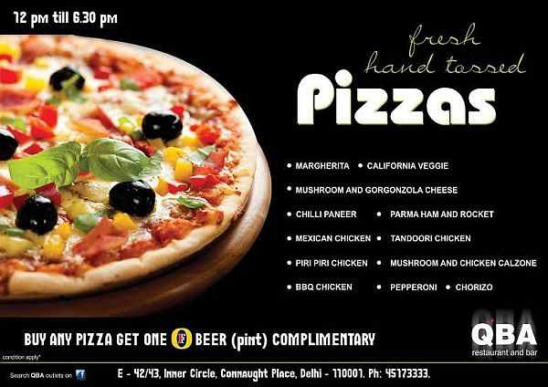 QBA Connaught Place pizzas