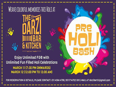 The Darzi Bar & Kitchen Presents - PRE HOLI BASH MyConnaughtplace
